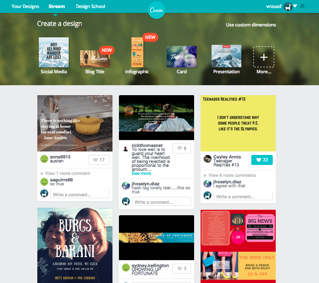 Stream (newsfeed) on Canva