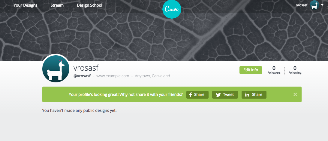 Main Profile Page on Canva