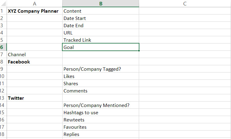 content planning spreadsheet